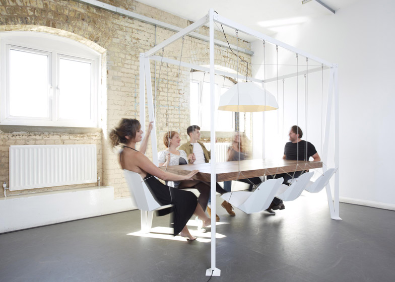 Swing table with hanging chairs by duffy london for Furniture jobs london