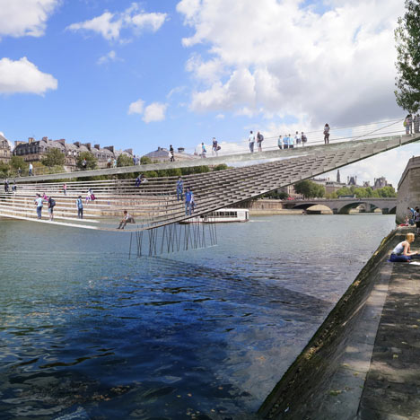 Quivering wire crossing by bureau faceB wins Paris bridge competition
