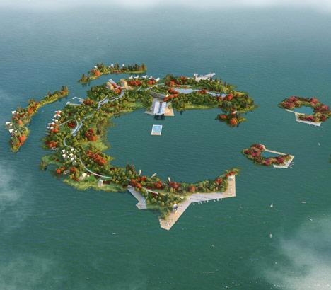 Man-Built Islands Dongqian Lake