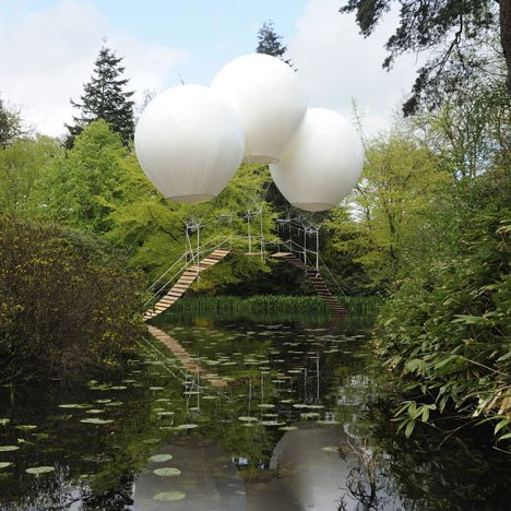 French artist Olivier Grossetête's temporary Pont de Singe was erected over a lake in Tatton Park, a historic estate in north-west England.