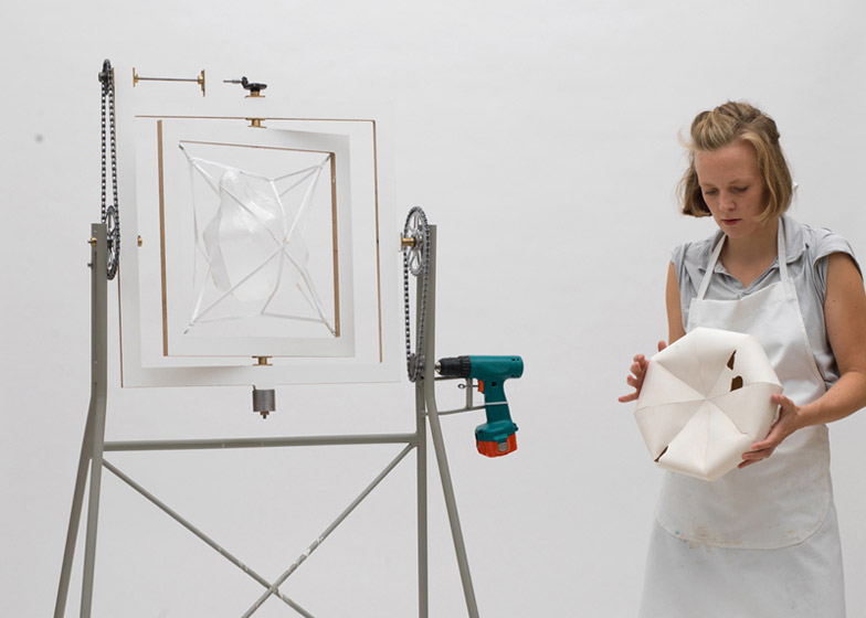 German designer Annika Frye incorporated a cordless drill in the rotational moulding machine she built for making one-off items using a process that would normally result in an identical series.