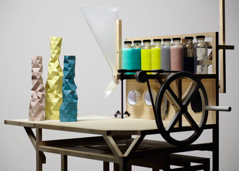 This casting jig by London designer Phil Cuttance is used to spin resin around faceted plastic forms to create unique vases.
