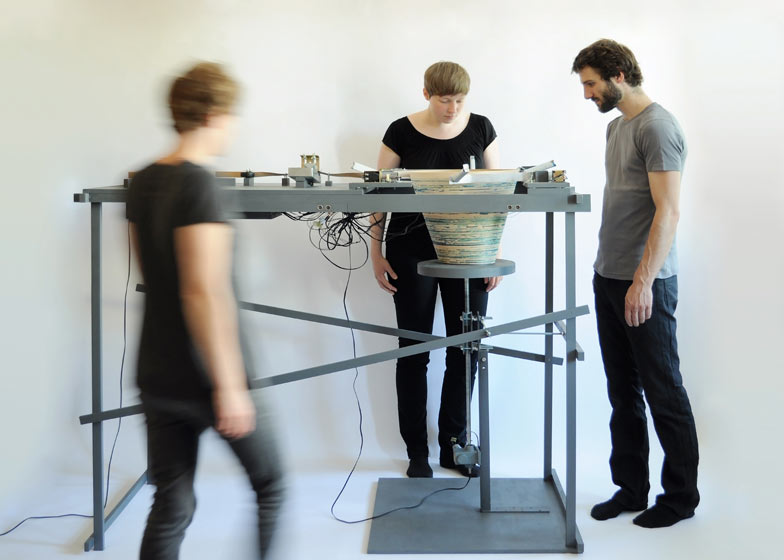 Vienna designers Mischer'Traxler created this basket-making machine that stops working when no one is watching.