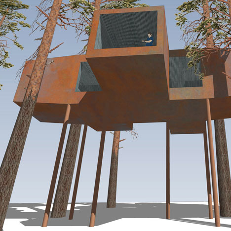 Twenty-ton treehouse under construction in Sweden
