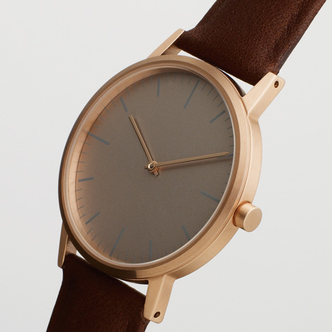 Dezeen Watch Store: Uniform Wares 152 series watch in rose gold