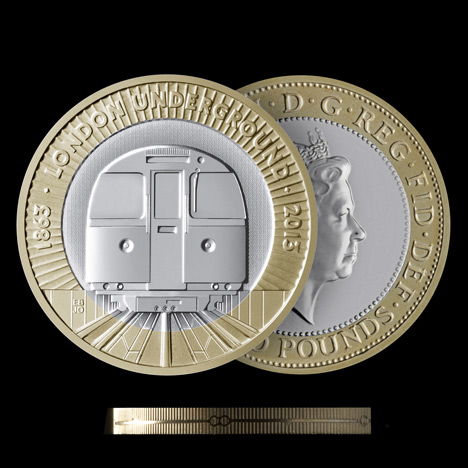 London Underground 150th anniversary coin by BarberOsgerby