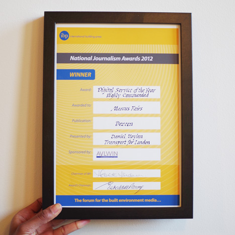 Dezeen highly commended as digital service of the year at IBP National Journalism Awards