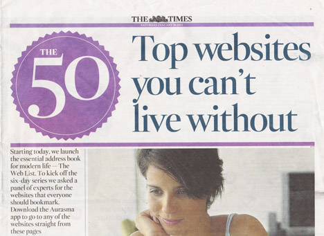 Dezeen in The Times' 50 top websites you can't live without