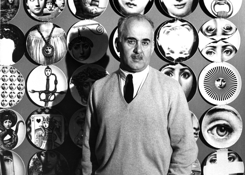 "Piero Fornasetti with his ""Tema e Variazioni"" (Theme and Variation) plates"