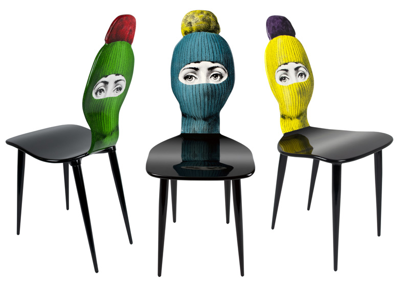 """Lux Gstaad"" Chairs by Barnaba Fornasetti. Wood. Printed, lacquered and painted by hand"