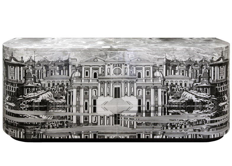 """Buffet Città che si rispecchia"" by Barnaba Fornasetti. Wood. Printed, lacquered and painted by hand"