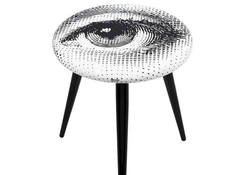 """Occhio"" (eye) Stool by Barnaba Fornasetti. Wood. Printed and lacquered by hand"