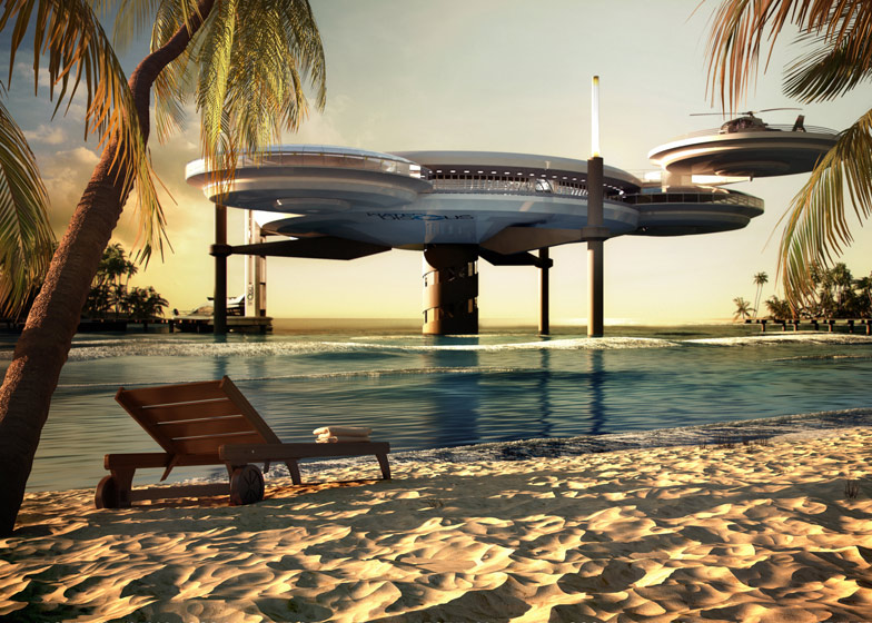 Water discus underwater hotel by deep ocean technology for The largest hotel in dubai