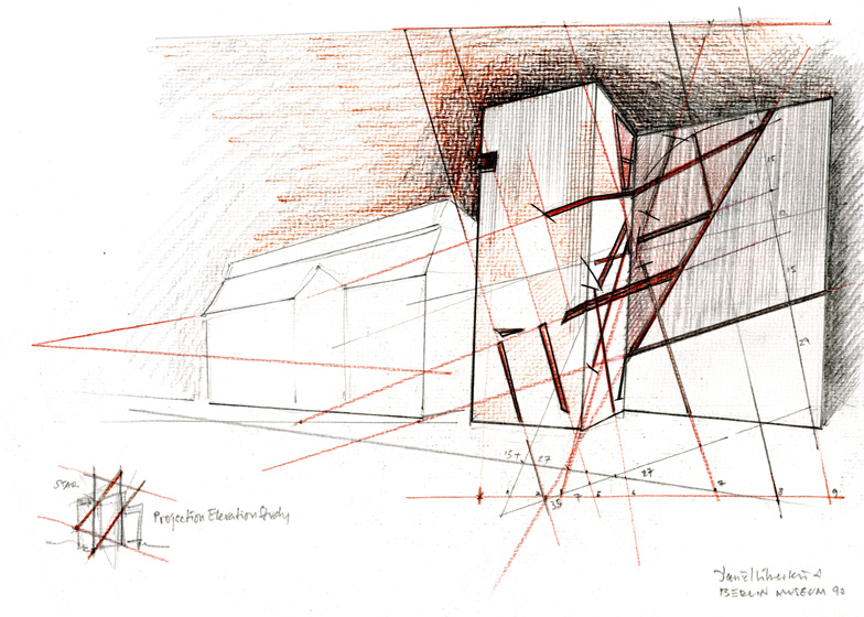 Older Story Architectural Drawings By Daniel Libeskind At Ermanno Tedeschi Gallery