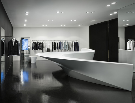 neil barrett shop in shop by zaha hadid architects boutique reception counter