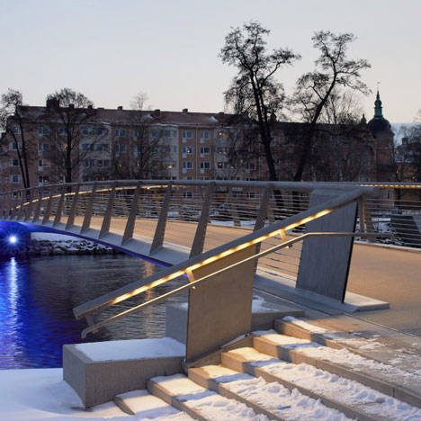 Snow-free heated bridge opens in Sweden