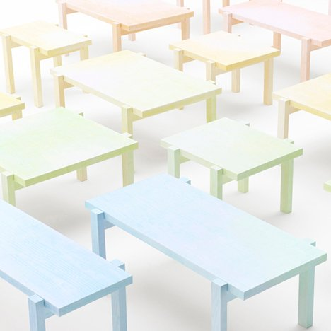 Colored-pencil table by Nendo