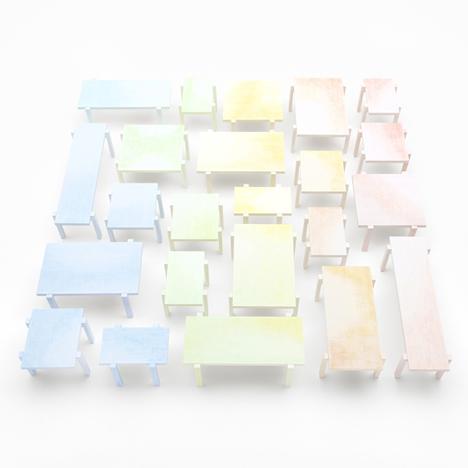 Colored-pencil table by Nendo