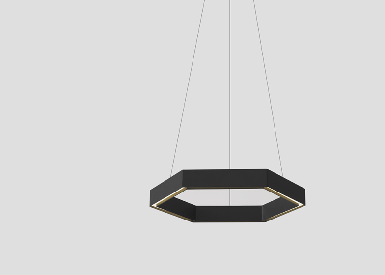 Hex pendant lamp by Resident Studio is formed from a black or white hexagonal aluminium channel.