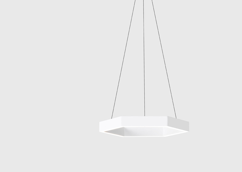 LED light is dispersed through a diffuser set into the channel, similar to the Cross lamps.