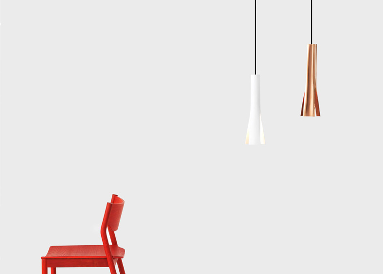 Lotus Light pendant lamps by Simon Jones come in aluminium or copper, shown with Tangerine Chair from Resident Studio's previous collection.