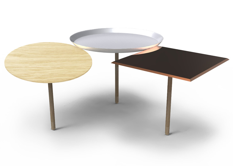 3Table for Porro is a collection of three low tables that support one another. Each one is made from a different material and one surface can be detached and used as a tray.