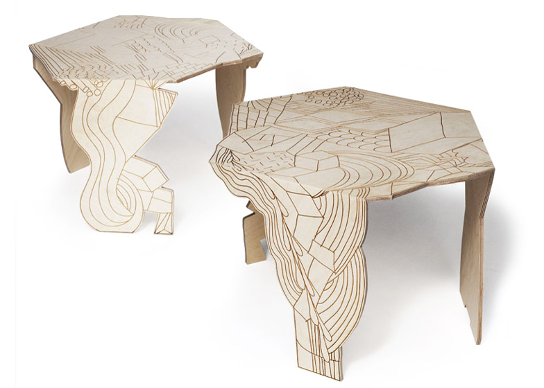 Burnt Doodle Table for Moroso has a pattern of line drawings burnt into its plywood surface.