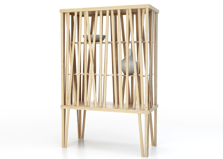 Mikado Cupboard for Porro is a cabinet made from sticks of olive ash that are sparingly arranged to leave gaps between.