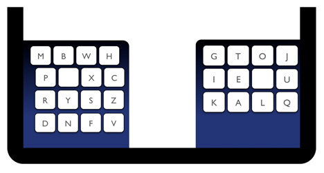 KALQ split-screen keyboard