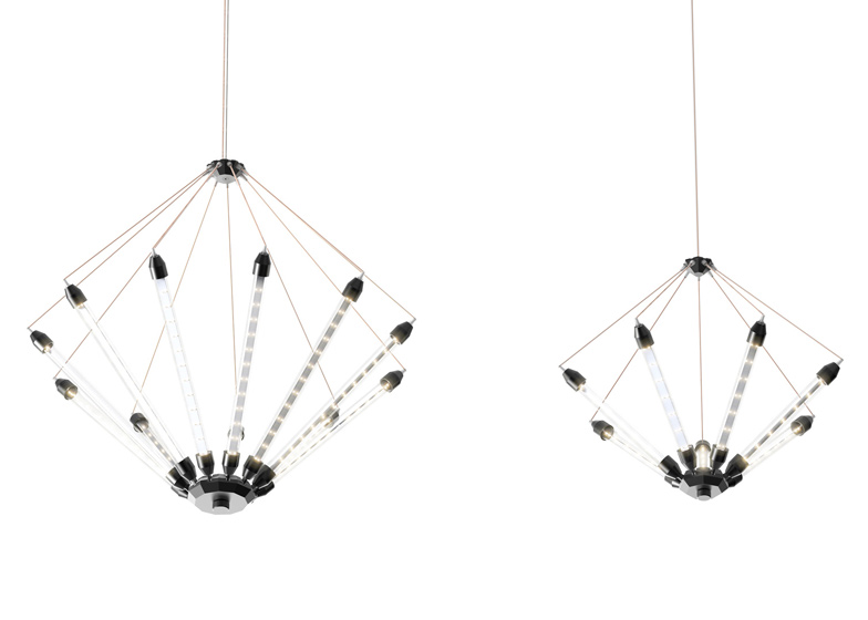 Kroon 11 and Kroon 7 chandeliers by ZMIK comprise batons dotted with LEDs, held in tension by copper-coloured wire.