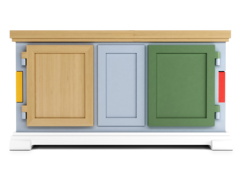 Doors and surfaces that make up the Paper Patchwork Buffet by Studio Job are all different colours and materials.