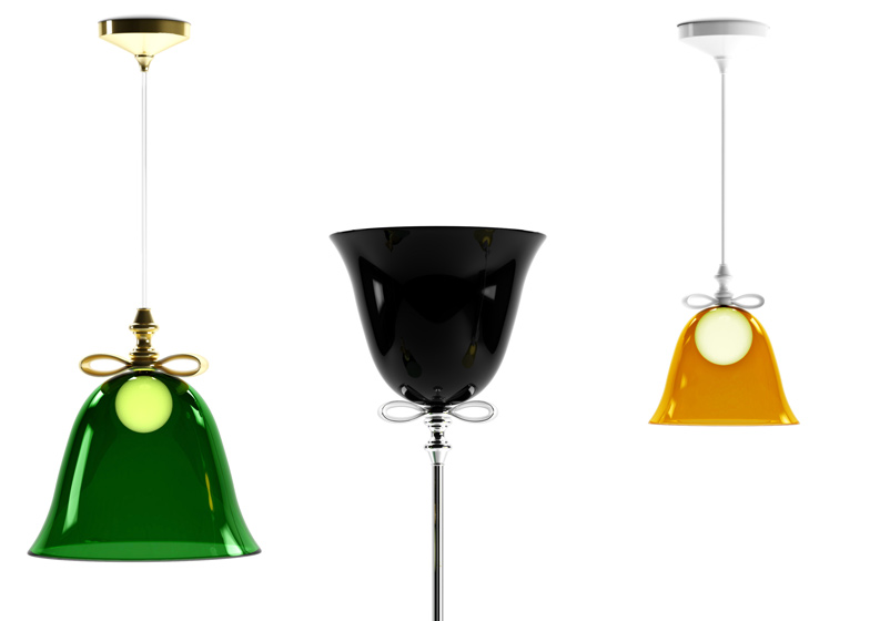Bell lamps by Marcel Wanders are pendant or floor lights with bell-shaped shades crowned with ceramic bows.