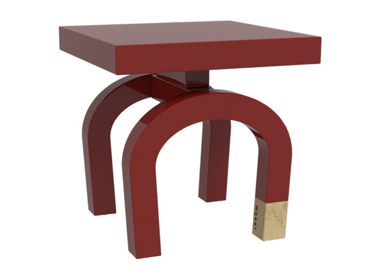 Tables in the Common Comrade family by Neri&Hu are slightly different shapes but are all united by their red colour.