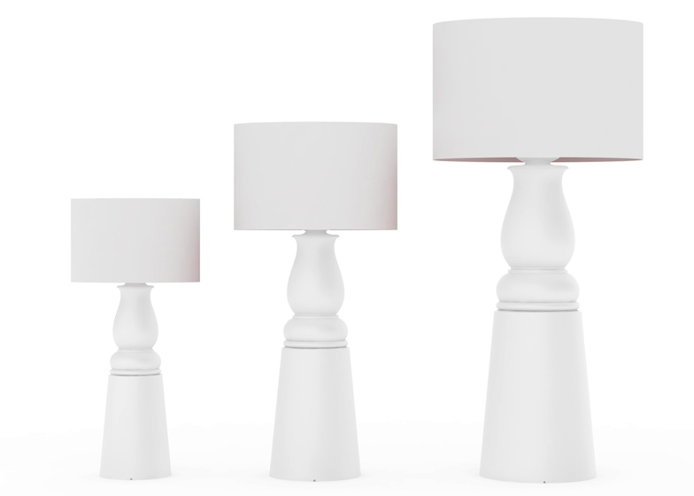 Farooo lamps by Marcel Wanders have baulster-shaped bases and come in three sizes.