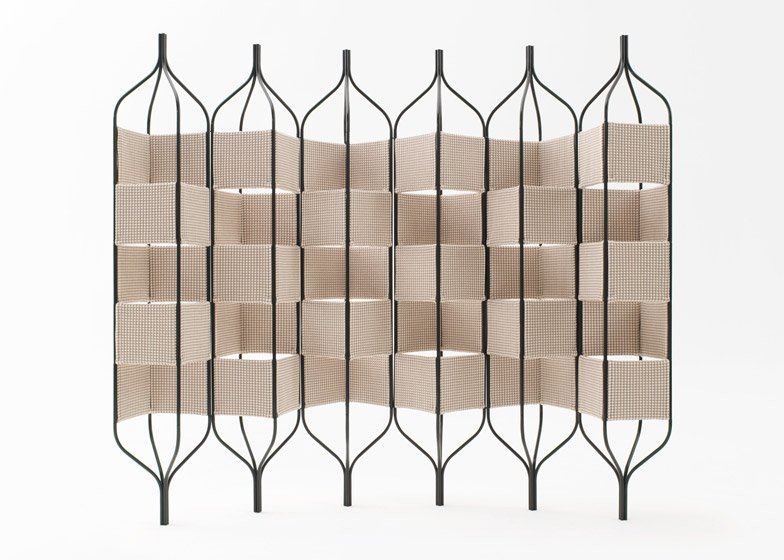 N=N/04 Trellis Bandaged - bands of knitted fabric are woven between a metal structure inspired by an electrical grid