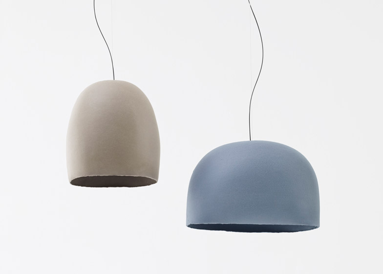 N=N/03 Paper Ice Cream - traditional Japanese paper dyed in pastel tones forms pendant or table lamp shades