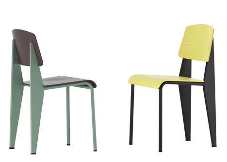 tandard Chair by Jean Prouve in new colours by hella Jongerius for Vitra at Salone