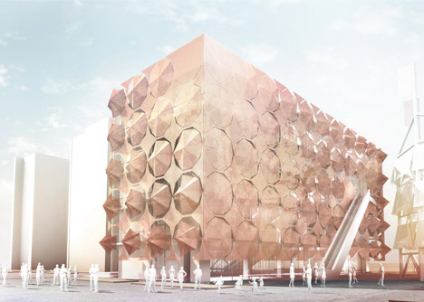 Umbrella Facade for the Madrid Pavilion by 3Gatti Architecture Studio