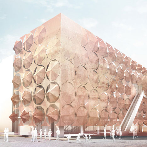 dezeen_Umbrella Facade for the Madrid Pavilion by 3Gatti Architecture Studio_sq1