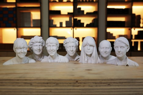 3D printed heads of the Print Shift team for Dezeen by Sample and Hold and Inition