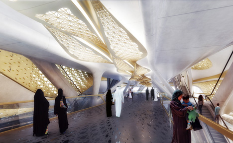 King Abdullah Financial District Metro Station by Zaha Hadid Architects