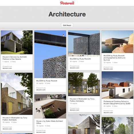 Pinterest features Dezeen's architecture board