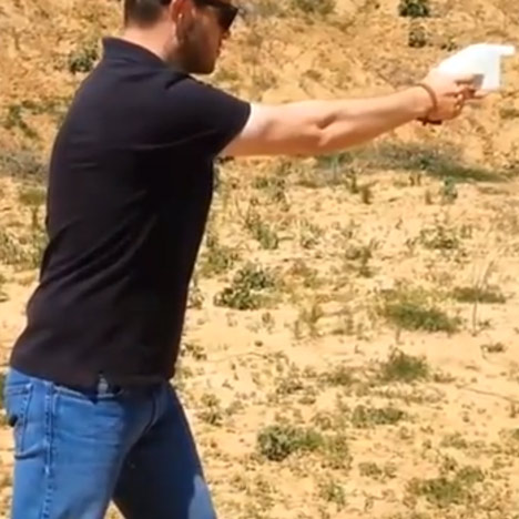 Cody Wilson firing the first 3D-printed gun.