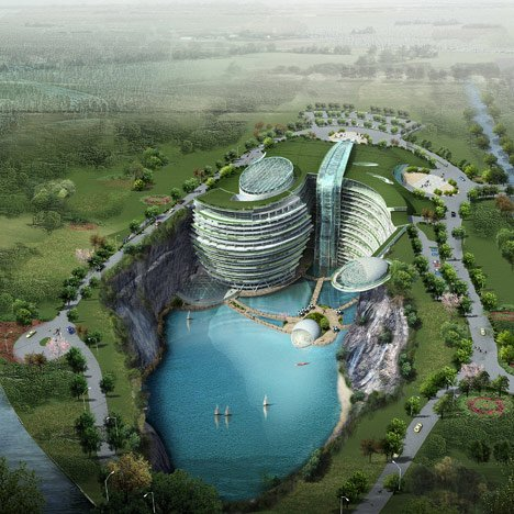 Cave hotel underway in<br /> water-filled Chinese quarry