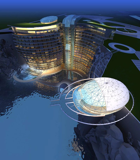 Cave hotel underway in water-filled Chinese quarry