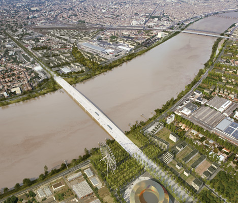 OMA bridge with pedestrian boulevard in final round of Bordeaux competition