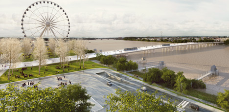 OMA bridge with pedestrian boulevard in final round of Bordeaux
