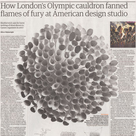 "Thomas Heatherwick rejects claims that Olympic cauldron is a copy as ""spurious nonsens"""