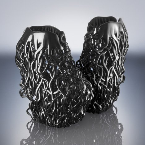3D-printed shoes by Iris van Herpen and Rem D Koolhaas