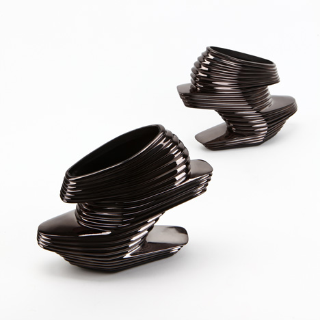 Black chrome Nova shoes by Zaha Hadid